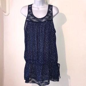 Lilly Lou Navy Blue Floral Sheer Blouse Size XL